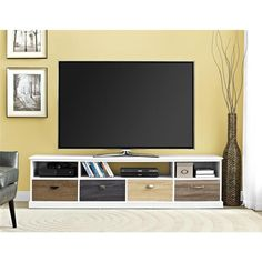 Altra Mercer White 65-inch TV Console with Multicolored Drawer Fronts
