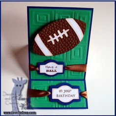 Football on a Wiggle Wire Birthday Card (Easel Card)