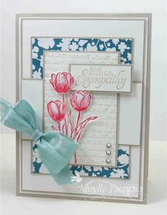Handmade tulip sympathy card created by Narelle Farrugia. Nice layout & use of dove grey. #Tulip, #TulipCard, #TulipSympathyCard, #Floral, #FloralCard, #FloralSympathyCard, #Flower, #FlowerCard, #FlowerSympathyCard, #HandmadeCard, #HomemadeCard, #HandcraftedCard, #Card, #CardIdea, #Sympathy, #SympathyCard, #HandmadeSympathyCard, #CardForSympathy, #CardForFuneral