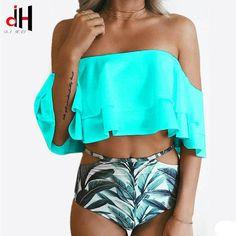 DA HAI Bademode Frauen Lotus Leaf Bikini Bikinis Set Push Up Badeanzug Badeanzug Brasilianische High Waist Bandage Biquini Sexy Bikini, Bikini Sets, Bikini Modells, Cut Out Bikini, Haut Bikini, Women Bikini, Bikini 2017, Mermaid Bikini, Flounce Bikini