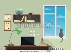Illustration of the modern workplace in room. Flat minimalistic style. Flat design.
