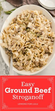 This ground beef stroganoff recipe is pure comfort food! This dish is simple to make and use quick-cooking ingredients! If you are looking for more quick Sunday dinner ideas check out lemonsforlulu.com