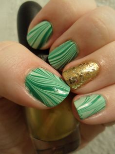 St. Patrick's Day nails water marble