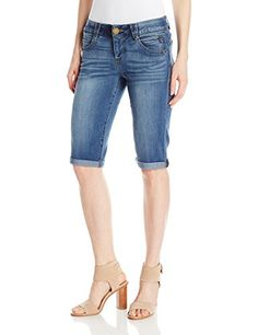 Democracy Women's Ab Solution Short, Blue, AB solution bermuda short in medium wash, 15 inseam cuffed to 13 Girls With Abs, Spring Shorts, Shorts Outfits Women, Abs Workout For Women, Short Blonde, Patterned Shorts, Fit Women, Sexy Gifts, Clothes For Women