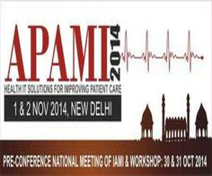 APAMI 2014 at India Habitat Centre,Lodhi Road,New Delhi,110003,India on 01/11/2014-02/11/2014 at 09:00-18:00,Price:3,000-25,000,Indian Association for Medical Informatics will be hosting the 8th Asia Pacific Association for Medical Informatics (APAMI 2014) in New Delhi, India, from 1st to 2nd November 2014,Category-Conferences | Science, Health & Medicine. URLs: Booking : http://atnd.it/7812-1.