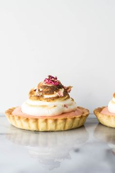 Pink Pomelo and Rose Tarts with Honey Meringue   Butter and Brioche, January 2015