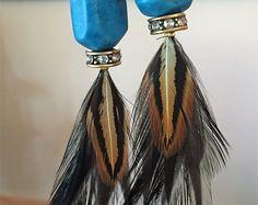 Handmade Feather Earrings from Wilderman's Etsy Shop #turquoise #featherearrings #feathers #boho #bohemian #hippie #mountainwear #handmade #jewelry #earrings #festivalwear #roosterfeathers #etsy #forsale #rhinestones #coloradostyle #custom  www.etsy/shop/wildermans