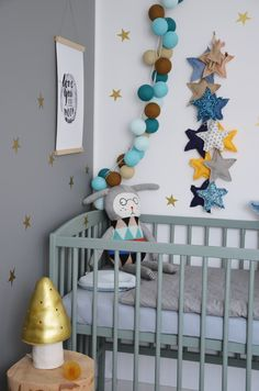 My little home My passion: Cotton ball string lights, star garland and wall details, baby cot, crib, baby room, Lucky Boy Sunday Fancy Nulle knit doll #toadstoolonastump