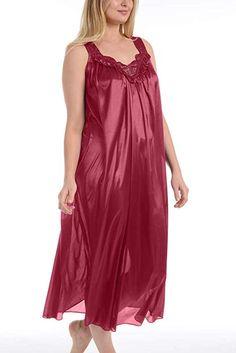 d9baf68430 Ezi Women s Satin Silk Sleeveless Lingerie Nightgowns