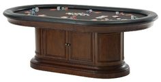 Howard Miller Bonavista Game Table by Howard Miller. $2.83. The Boniest game table accommodates eight people and features eight full extension drawers with removable sandstone coasters. The top features a black micro-fiber poker playing surface surrounded by an easy-to-clean, black faux leather padded armrest. The storage base features cherry veneers with decorative moldings. Two hinged doors in the base offer access to convenient storage for accessories that includes a fixe...
