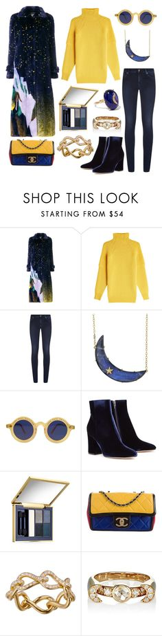 """The sun loved the moon so much, he died every night to let her breathe."" by theodor44444 ❤ liked on Polyvore featuring Marco de Vincenzo, Victoria Beckham, 7 For All Mankind, Andrea Fohrman, Jean-Paul Gaultier, Gianvito Rossi, Estée Lauder, Chanel, Infini and Pamela Love"