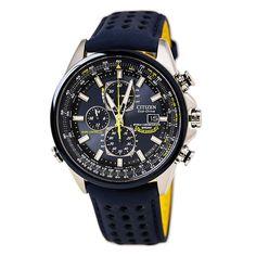 d5ec92dcc22 Citizen AT8020-03L Men s Blue Angels World Chronograph A-T Leather Strap  Dive Watch
