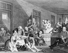 THE MADHOUSE 18th CENTURY BEDLAM INSANE ASYLUM FROM A PAINTING BY WILLIAM HOGARTH CIRCA 1735 (Photo by Charles Phelps Cushing/ClassicStock/Getty Images)