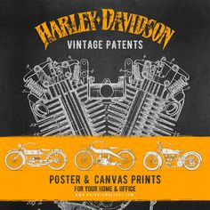 Harley Davidson Wall Decor 1919 harley davidson engine patent, harley davidson canvas print