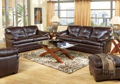 Salinger Blended Leather Coffee  3 Pc Livingroom