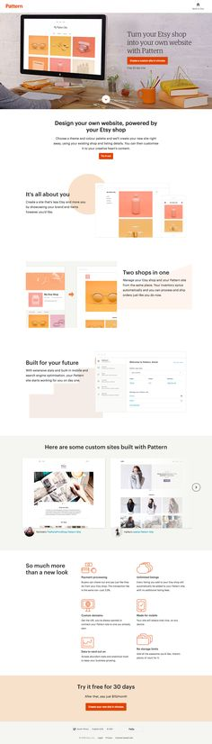 Great looking landing page promoting 'Pattern' - Etsy's new website builder. The service uses your existing Etsy store content to create a website instantly. Nice reference to a slider with only one arrow but looping slides - you would think this is actually better UX. Little shout out to the cheeky recruitment tactic in the source code. There is a 'X-Recruiting' meta field that includes a job ad if you're a coder. Smart.