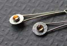 Sterling silver earrings   Citrine drop earrings  by tladesigns