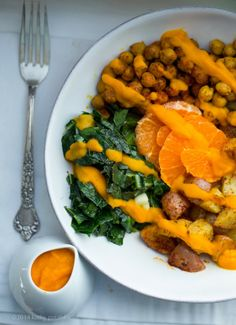 Carrot-Ginger Roasted Potato Bowl with Collards & Spiced Chickpeas