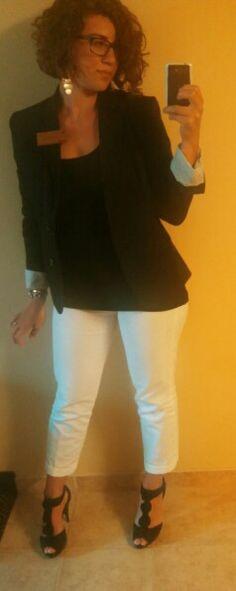 4/7/14--Black jacket, black tank top, white slacks, black peep toe pumps, sliver watch, monogrammed bracelet, silver earrings.