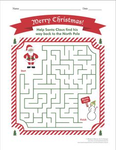 Christmas MAZE Printable Game, Instant Download #Christmas #Christmas2015 #Xmas #Xmas2015 #XmasShopping