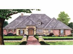 French Country House Plan with 2408 Square Feet and 3 Bedrooms from Dream Home Source | House Plan Code DHSW67569