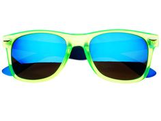Blue Reflective Mirror Lens Wayfarer Sunglasses Green W844