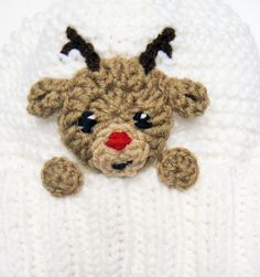 Reindeer hat Kids Christmas Hat Crochet Earflap Hat Pom by Crochet Christmas Hats, Crochet Kids Hats, Knitted Hats, Hat Crochet, Reindeer Hat, Kids Christmas, Reindeer Christmas, Etsy Christmas, Christmas Outfits