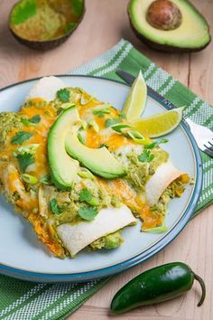 Chicken and Avocado Enchiladas in Creamy Avocado Sauce  http://www.closetcooking.com/2012/09/chicken-and-avocado-enchiladas-in.html