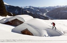 A person on a ski tour took a wrong turn and ended up on the roof of a snow-covered house in Seewis, Switzerland.