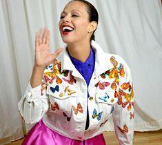 Vintage Jacket, Designer Jean Jacket, Escada Jacket, White Jean Jacket, Butterfly Print, Novelty Print, Early 90s Jacket,