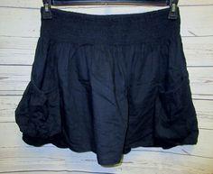"Black Skirt XXL 2xup to 44"" Smocked StretchWaist Pocket Cotton Lined 17"" Long  #Mossimo #FullSkirt"