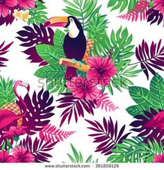 Tropical trendy seamless pattern with toucans, flamingos, exotic flowers and leaves. - stock vector