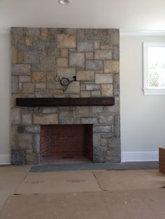 Square Cut Design Fireplace w/ Wood Mantle