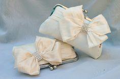 Glam'd Up Pretty Bridal Bow Clutch in dupioni silk with Rhinestones by ItsSoClutch