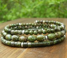 A day in the rainforest - gorgeous greens, an earthy rich design. Bracelet by BonArtsStudio