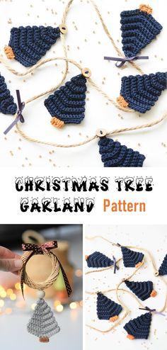 Crochet Christmas Trees, Christmas Tree Garland, Christmas Crochet Patterns, Holiday Crochet, Crochet Blanket Patterns, Baby Knitting Patterns, Christmas Crafts, Christmas Ideas, Christmas Decorations