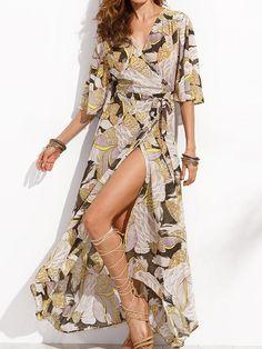 Exotic Floral Printed V Neck Split Maxi Dress - WealFeel
