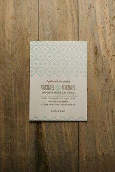 DANICA Suite Basic Package, mint and gold wedding invitation, letterpress wedding invitation