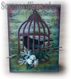 ScrappedLives » Card with Tim Holtz Die Caged Bird
