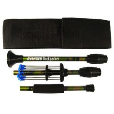 """Backpacker Breakdown Blowgun - Green Camo. .40 caliber breakdown. 25"""" long assembled and snaps apart in seconds and fits  into its own 8 1/2"""" x 3"""" ballistic nylon belt sheath, blowgun sling, 12 darts in on-board quiver, and dart guard."""