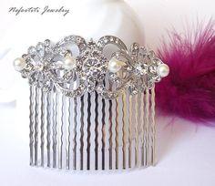 bridal hair comb pearl hair comb wedding by nefertitijewelry2009, $34.00