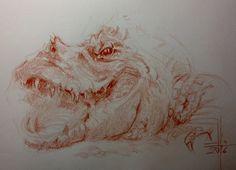 Dibujo de una cocodrilo a sanguina grasa sobre guarro A4