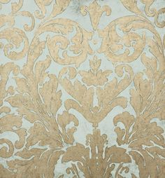 Tivoli Damask Wallpaper Gold drawn damask design wallpaper on duck egg.