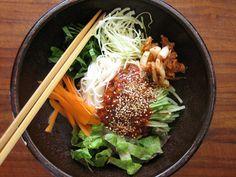 korean sweet & spicy cold noodles aka bibim guksu