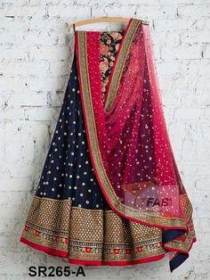 Navy Blue Tapeta Silk With Embroidered Work Women Oracle Lehenga Choli - SR265-A