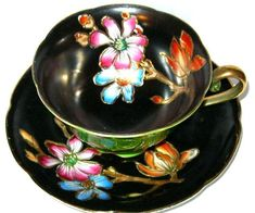 Beautiful Lime & Black Etched Gold Floral Occupied Japan Tea Cup and Saucer HP #MeritChinaOccupiedJapan
