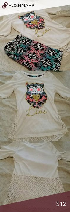 Beautiful little girls legging set Beautiful tribal, owl, love legging set with lace back. Gorgeous set. Has some piling under arms and has very hard to see stain. I didn't even notice it when photographing, but it's underneath, to the left of the L. Still a very nice set. The leggings are in perfect condition and VERY soft!! one step up Matching Sets
