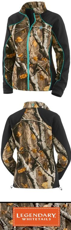 Women's Timber Creek Softshell Jacket - Big Game Camo & Teal. #LegendaryWhitetails