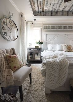 Modern French Country Farmhouse Master Bedroom Design Love The L And Stick Barnwood On