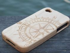 Compass Unique Handmade Natural Wooden for Iphone 5S case ,Iphone 5,Iphone 4S case,Iphone 4 case (Optional material:bamboo,Cherry, walnut) on Etsy, $18.50
